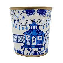 Social Memphis Exclusives   Jaye\'s Studio Garden Party Large Oval Wastebasket-Blue and White $81.00