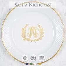 $69.00 Weave 24K Gold Salad Plate with Gold Monogram