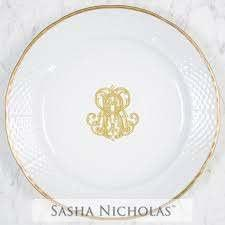 $84.00 Weave Gold Rimmer Dinner Plate with Gold Monogram