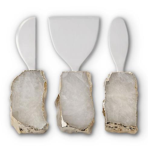 Anna by Rablabs   Kiva Cheese Set/3, Crystal/Gold $235.00