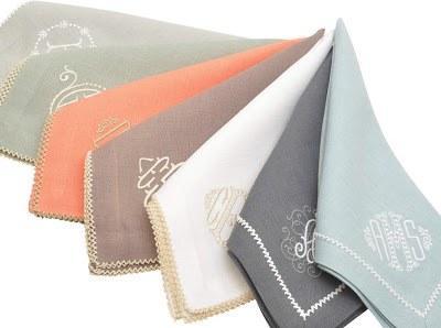 Julian Mejia Design   Linen Napkin White/White Inverted Pico Edge w/Monogram $68.00