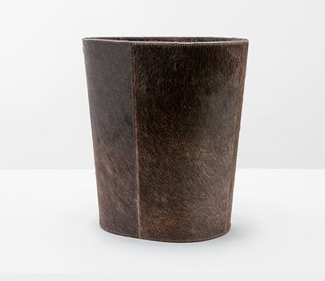 $311.00 Cowhide Oval Dark Brown Waste Basket