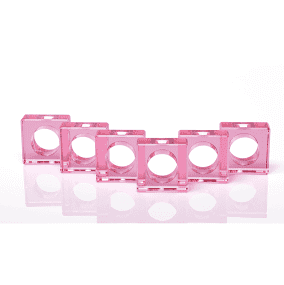 Julian Mejia Design   Square Lucite Clear Pink Napkin Ring Set/4 $72.00
