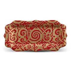 L'Objet  Fortuny Maori Rectangular Platter Red $255.00