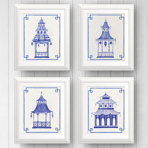 $95.00 8x10 Blue and White Pagoda Prints - Set of 4