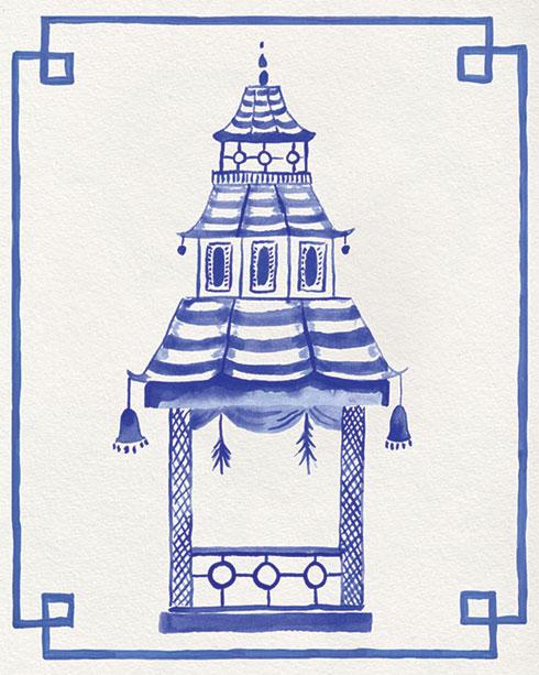 $40.00 11x14 Blue and White Pagoda No 1 Art Print