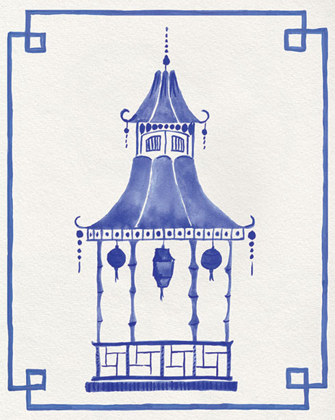 $40.00 11x14 Blue and White Pagoda No 2 Art Print