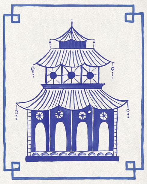 $40.00 11x14 Blue and White Pagoda No 3 Art Print