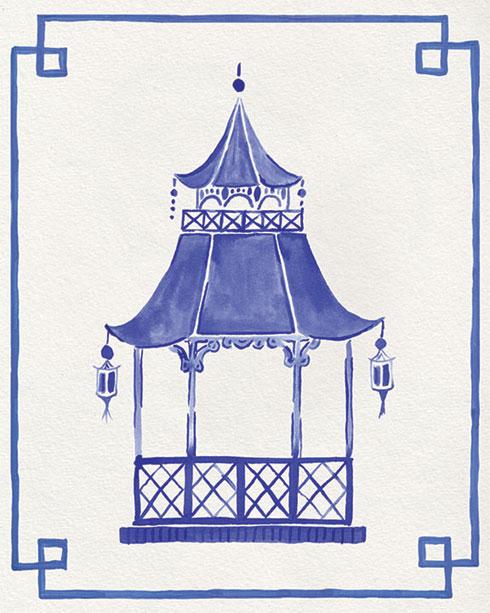 $40.00 11x14 Blue and White Pagoda No 4 Art Print