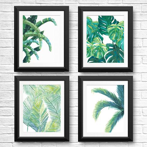 $120.00 11x14 Set of 4 Tropical Art Leaf Prints - Banana, Palm, Monstera, and Fern