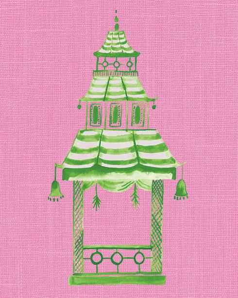 $40.00 11x14 Pink and Green Pagoda No 1 Art Print