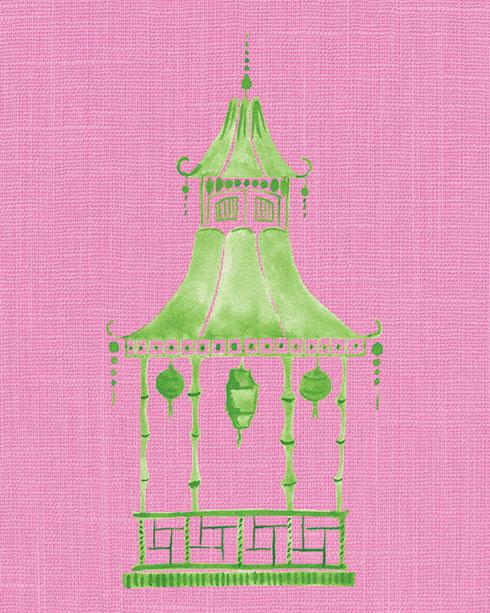 $40.00 11x14 Pink and Green Pagoda No 2 Art Print