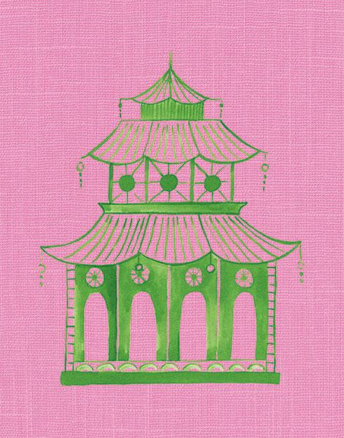 $40.00 11x14 Pink and Green Pagoda No 3 Art Print