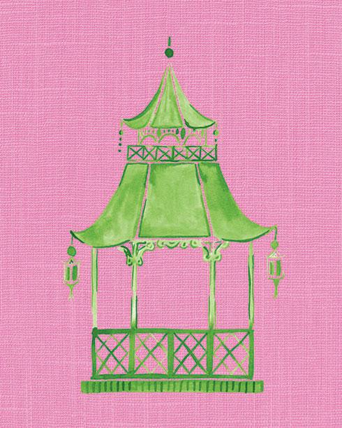 $40.00 11x14 Pink and Green Pagoda No 4 Art Print