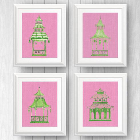 $95.00 8x10 Pink and Green Pagoda Prints - Set of 4