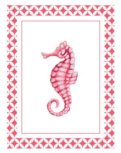 $40.00 11x14 Coral Pink Seahorse Wall Art