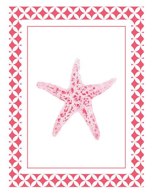 $19.00 Coral Pink Starfish Wall Art