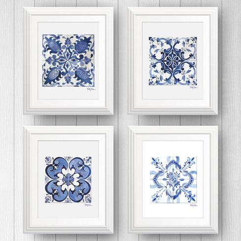 $120.00 11x14 4 Azulejo Portuguese Tile Art Prints