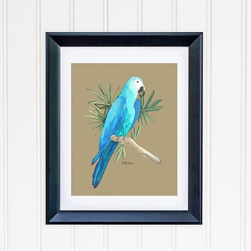 $40.00 11x14 Blue Hyacinth Parrot Tropical Bird Art Print