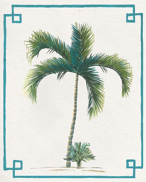 $40.00 11x14 Chinoiserie Palm Tree Print