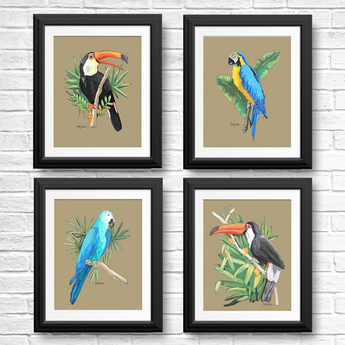 $120.00 11x14 Tropical Birds Art Print Series