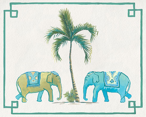 $19.00 Chinoiserie Elephants and Palm Tree Art