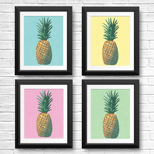 $95.00 8x10 Pineapple Pop Art Prints - Set of 4
