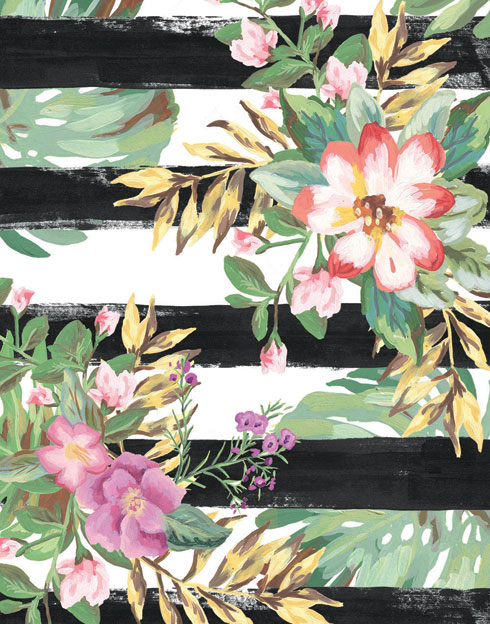 $40.00 11x14 Pink and Purple Tropical Flower Art 2