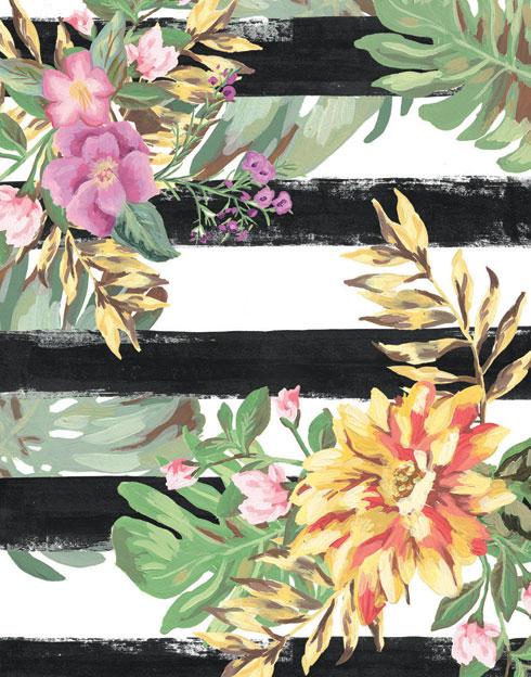 $40.00 11x14 Orange Yellow Tropical Flower Art 3