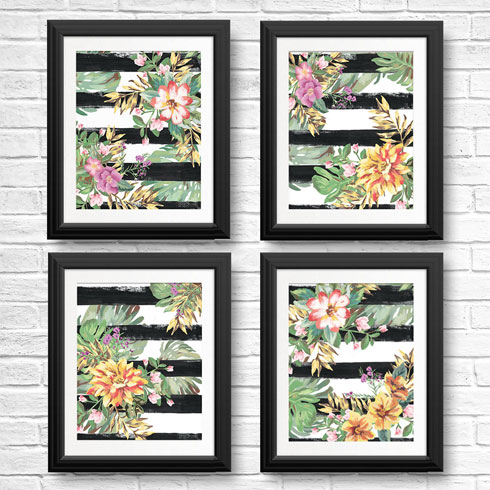 $40.00 11x14 Yellow and Coral Tropical Flower Art 4