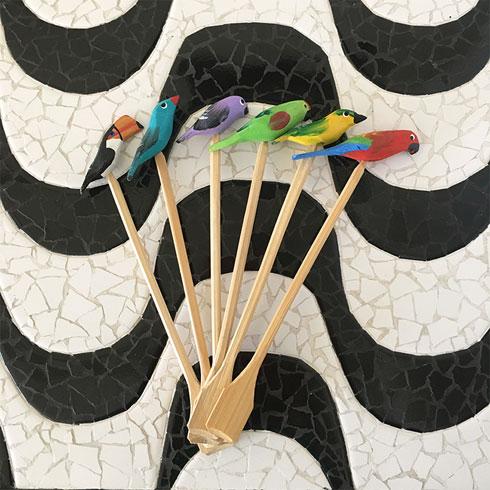 $25.00 Tropical Bird Wooden Swizzle Sticks