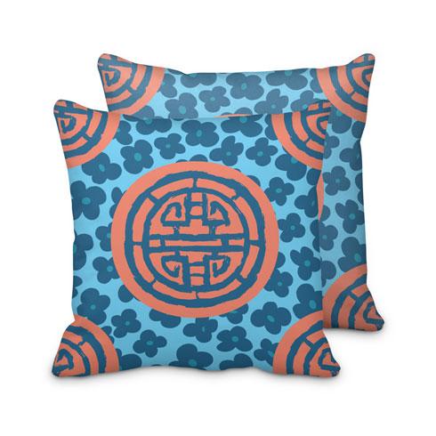$125.00 Large Coral Blue Medallion Pillow