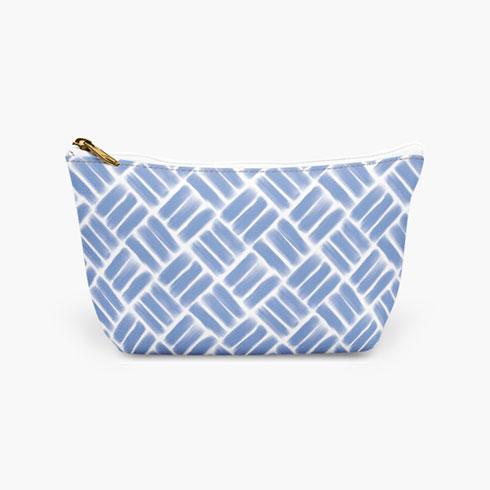 $25.00 Blue Basket Weave Cosmetic Bag  Large