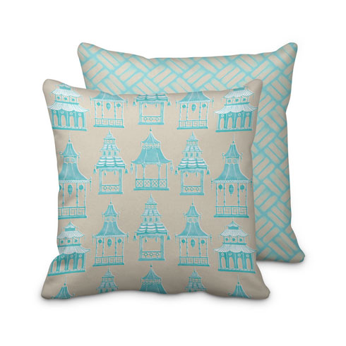 $125.00 Large Turquoise Pagoda Pillow