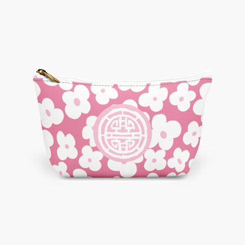 $25.00 Pink Medallion Cosmetic Bag  Large