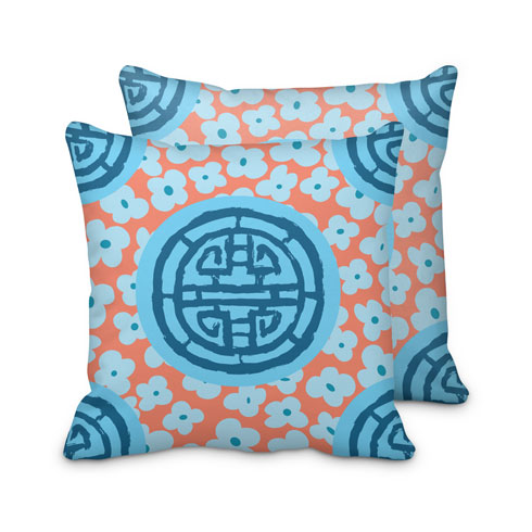 $95.00 Blue Coral Medallion Pillow