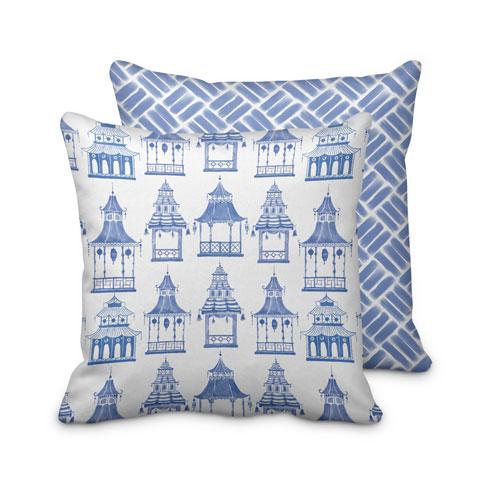 $95.00 Blue Pagoda Pillow