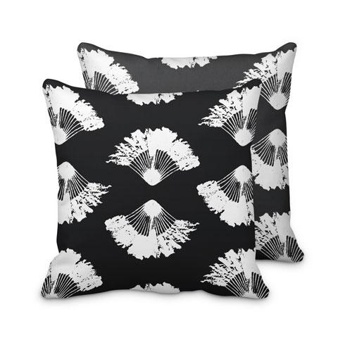$95.00 Black and White Fan Palm Pillow