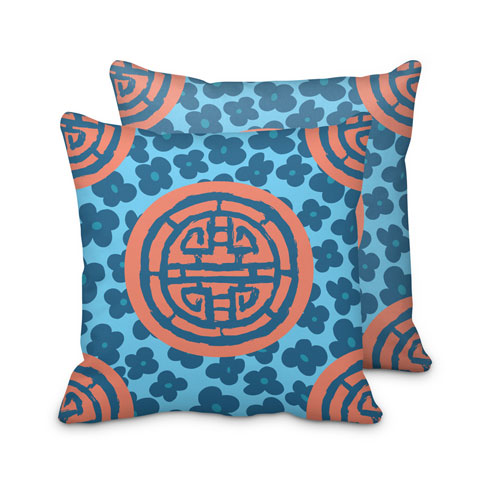 $95.00 Coral Blue Medallion Pillow