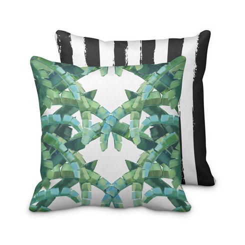 $95.00 Banana Leaf Palm and Stripes Tropical Pillow
