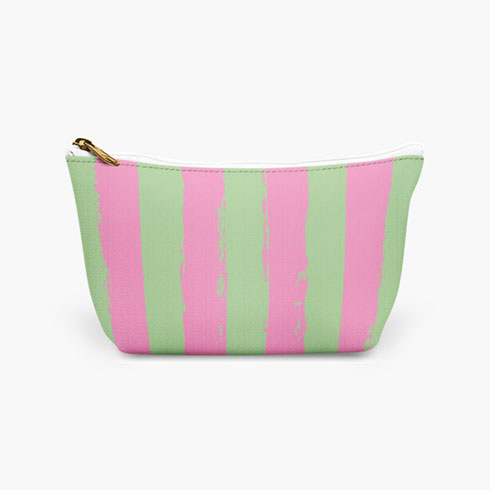 $19.00 Pink and Green Stripe Cosmetic Bag