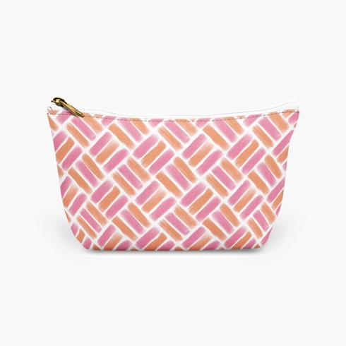 $19.00 Pink Basket Weave Cosmetic Bag
