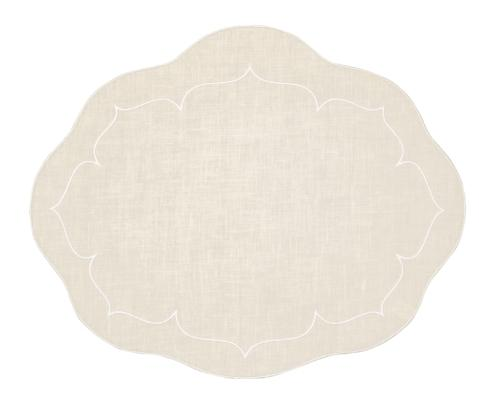 $100.00 Oval Linen Mat Ivory - Set of 4