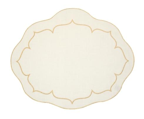 $100.00 Oval Linen Mat Ivory w/ Gold - Set of 4
