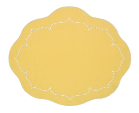 $100.00 Oval Linen Mat Yellow - Set of 4
