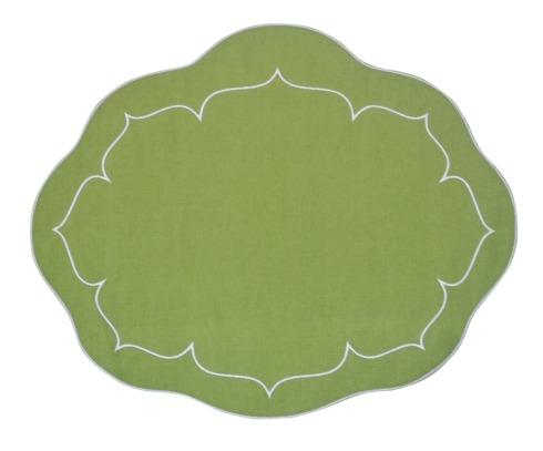 $100.00 Oval Linen Mat Green - Set of 4