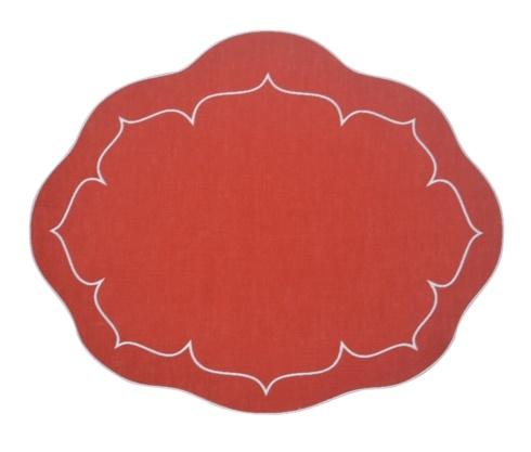 $100.00 Oval Linen Mat Brick Red - Set of 4