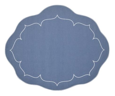$100.00 Oval Linen Mat Blue - Set of 4