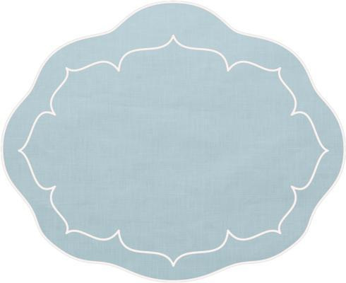 $100.00 Oval Linen Mat Ice Blue - Set of 4