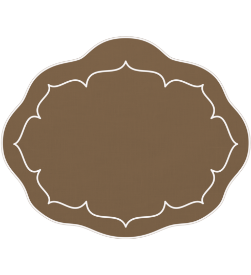$100.00 Oval Linen Mat Taupe - Set of 4